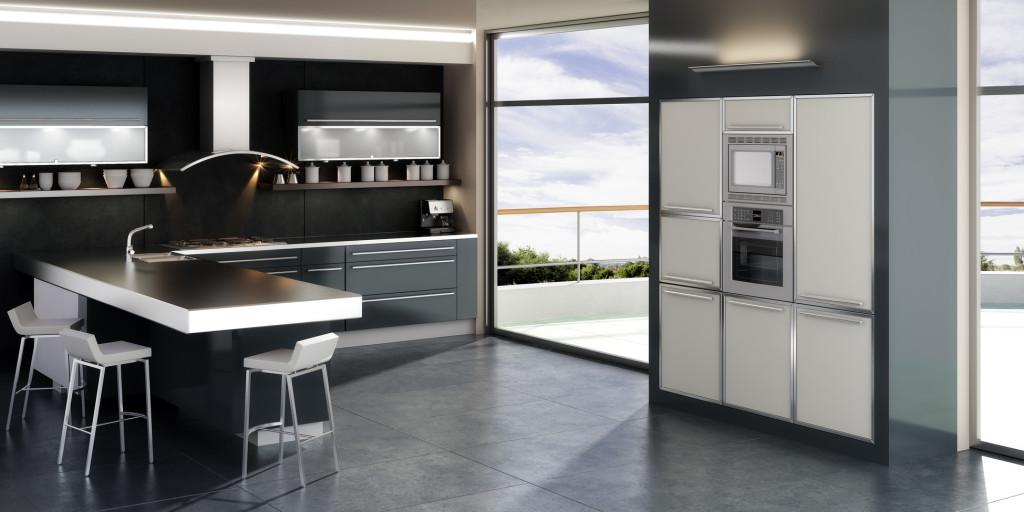 Jednoduchá moderní kuchyně s pultem do prostoru.