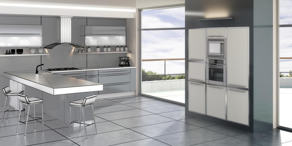 Jednoduchá světlá moderní kuchyně s pultem do prostoru.