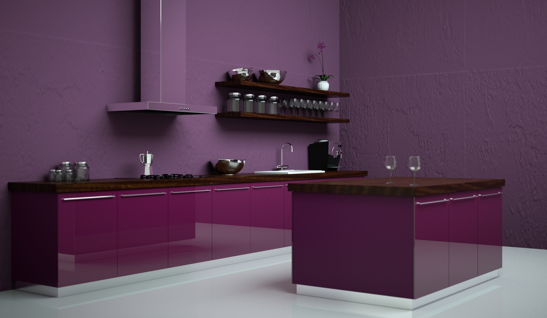 Moderní fialová lesklá kuchyně s ostrůvkem.