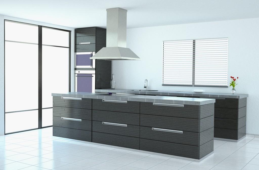Moderní kuchyně šedé barvy bez horních skříněk.