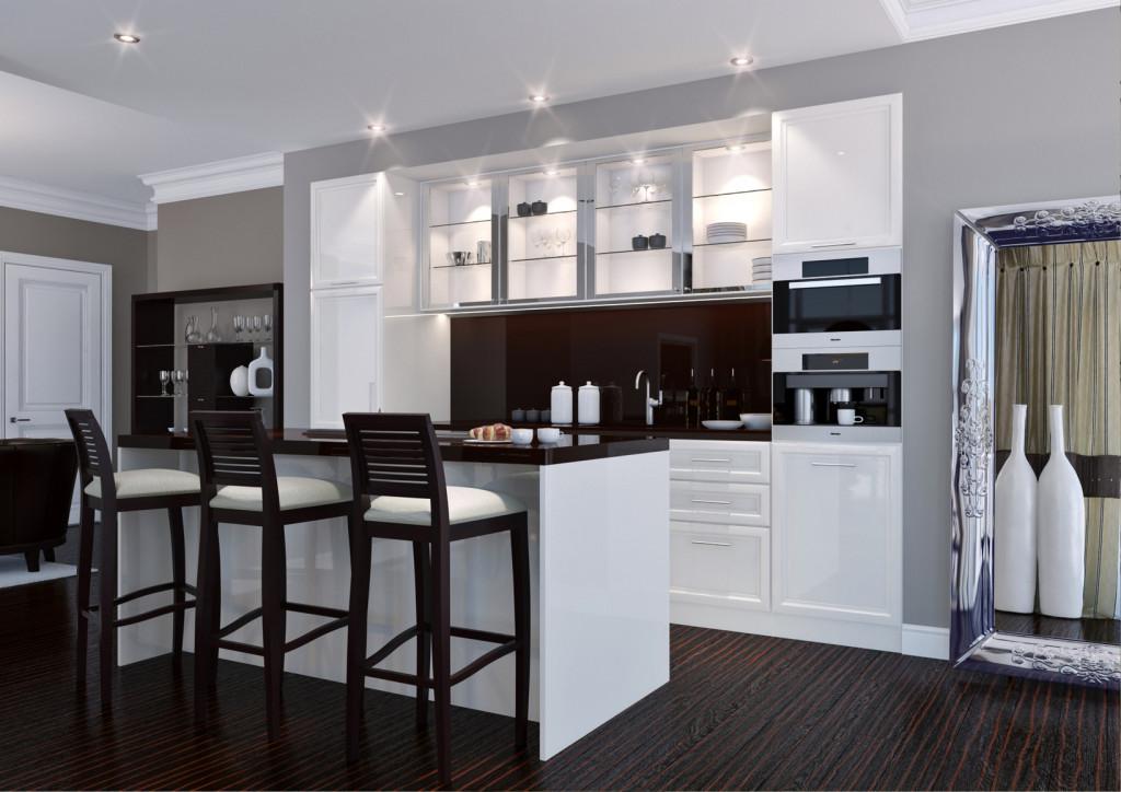 Rustikální kuchyně v tmavo bílé kombinaci se středovým pultem.