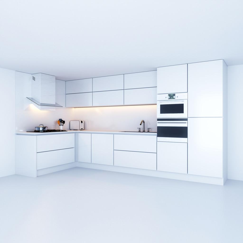 Moderní kuchyňský kout v bílé barvě.