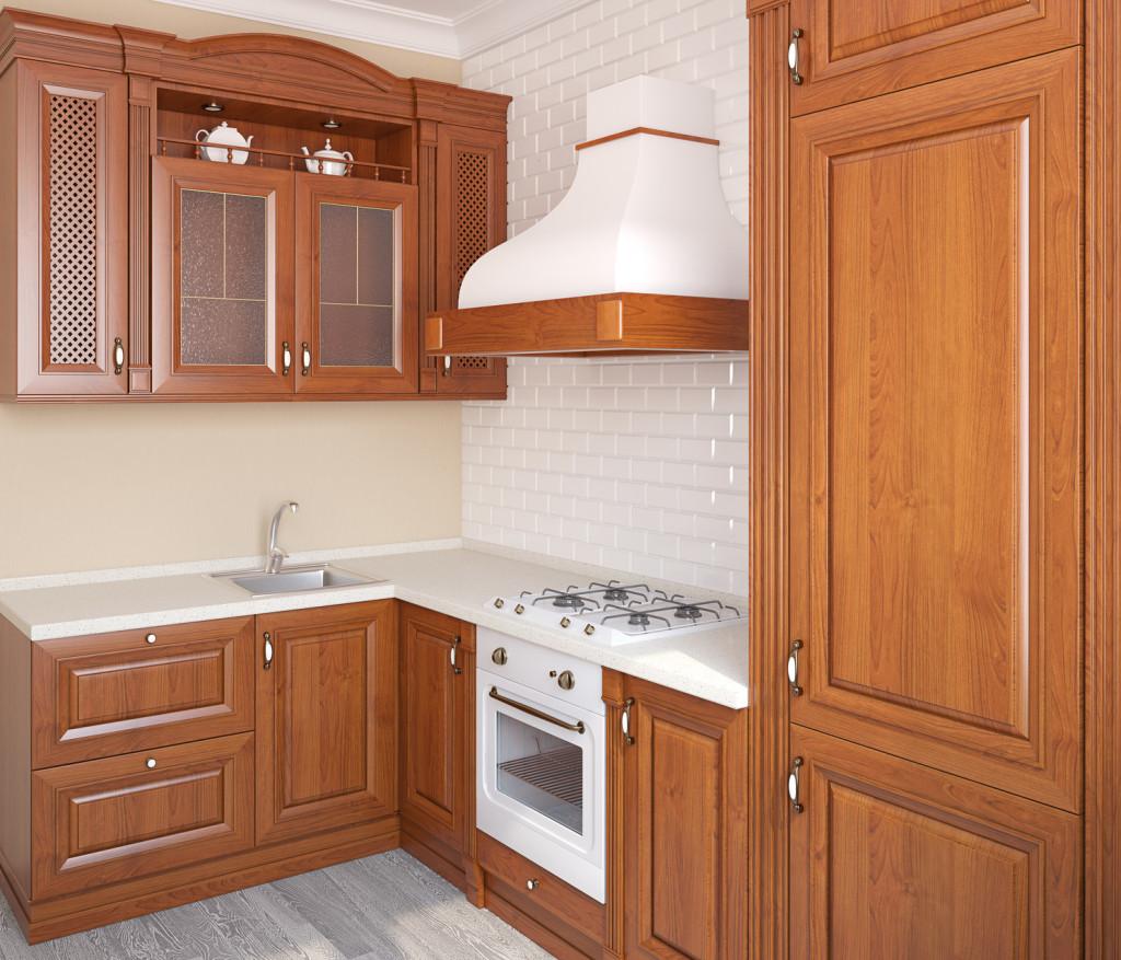 Rohová rustikální kuchyně ze dřeva.