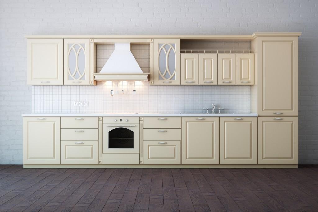 Kuchyně ve světlém dekoru v rustikálním stylu.