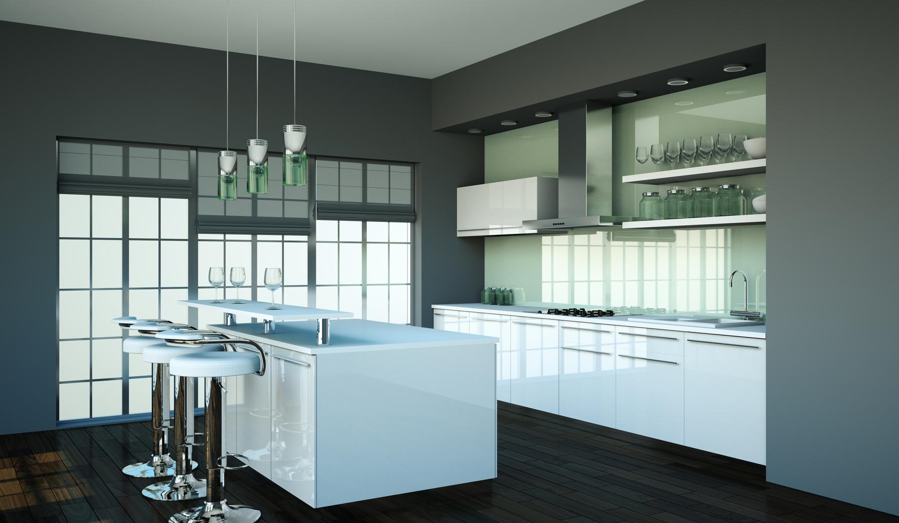 Moderní kuchyně v bílém lesku.