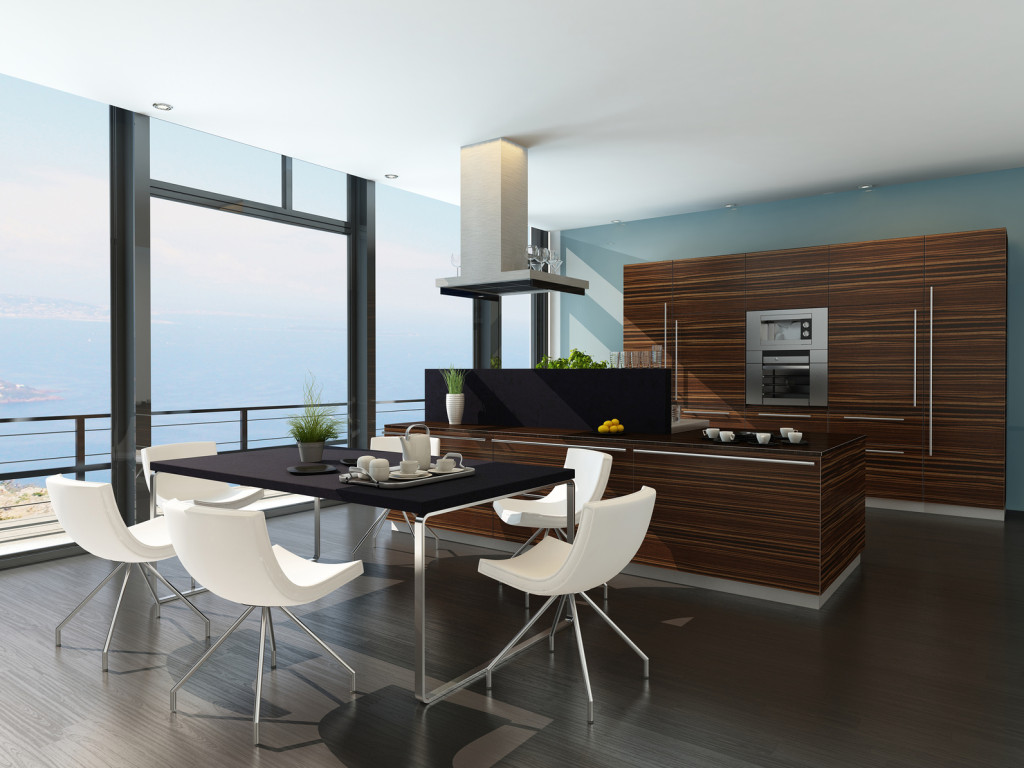 Moderní kuchyně s dřevěným dekorem.