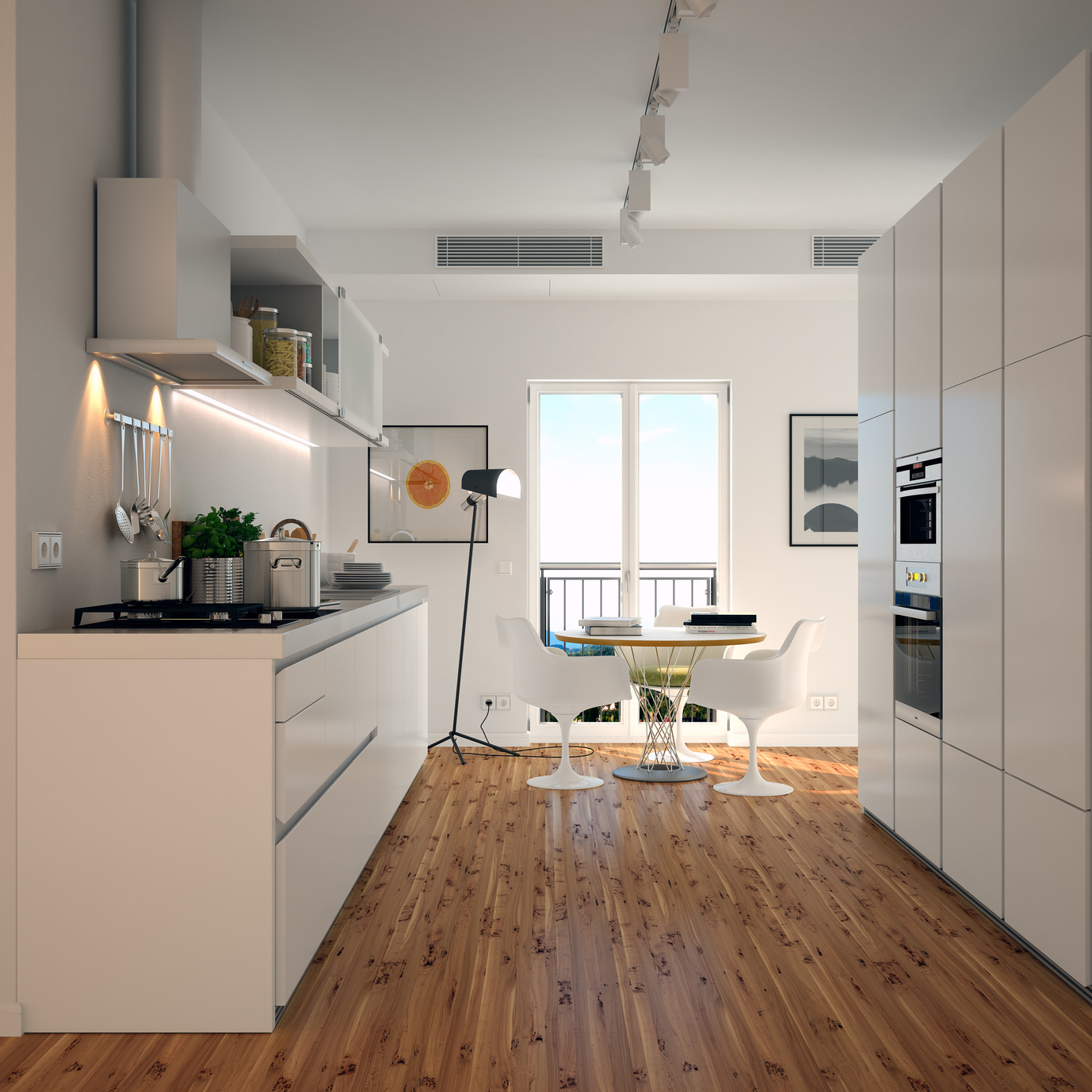 Moderní malá kuchyně v bílé barvě.