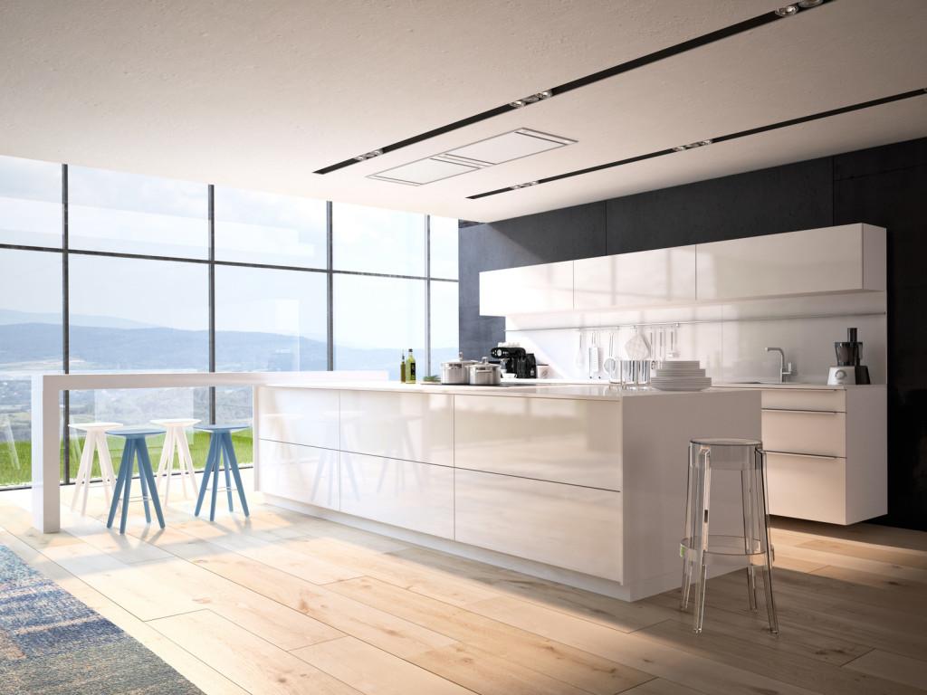 Prostorná bílá moderní kuchyně s velkým středovým pultem.